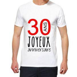 T Shirt Premium Homme Joyeux Anniversaire 30 Ans Manche Courte Col Rond