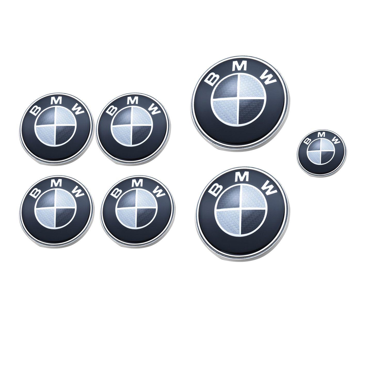X7/BMW Badges Effet carbone noir /& blanc Bonnet de coffre de roue Capuchons de roue /& steereng embl/ème