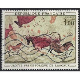 France 1968 Oblitéré Used Pierre Grotte Préhistorique de Lascaux Y&T 1555