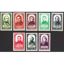 france 1948, 100 ans de la révolution de 1848, très beaux exemplaires yv. 795 lamartine, 796 ledru rollin, 797 blanc, 798 albert, 799 proudhon, 800 blanqui, 801 barbès, 802 affre, neufs*