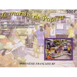 Polynésie Française 2002 : Bloc n° 673 -Le marché de Papeete