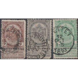 Beigique: Lot de 3 timbres représentant des armoiries.