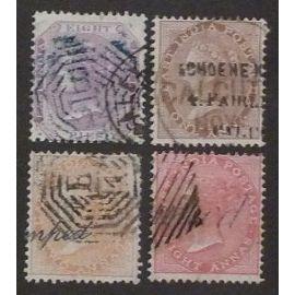 Inde anglaise oblitéré y et t n° 10-11-14-17 lot de 4 timbres de 1856