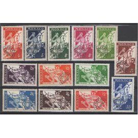 13 Timbres Monaco Pré-oblitérés 1954-1959 Yvert et Tellier n°11, 11A, 12, 12A, 12B, 13, 13A, 13B, 14, 15, 16, 17, 18 (Préo 11 à 18) Neuf** Sans traces de charnière