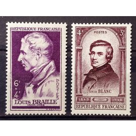 Braille 6f+4f violet (N° 793) + Centenaire Révolution 1848-1948 - Louis Blanc 4f+3f Brun-Lilas (N° 797) Neufs** Luxe - France Année 1948 - N21633