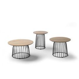 Table Basse Ronde 40cm En Bois De Chene Et Pieds Metal Noir Emeline L 40 X L 40 X H 45 Rakuten