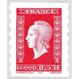 france 2005, très bel exemplaire timbre auto-adhésif yvert 66, 60ème anniversaire de la marianne de dulac, 0.53€ rouge, neuf** luxe