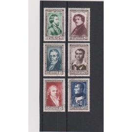 france, 1951, célébrités et personnages célèbres du 19ème siècle, n°891 à 896, oblitérés.