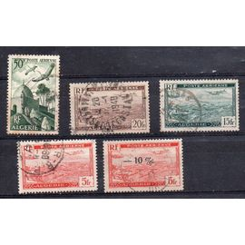 Algérie- Lot de 5 timbres oblitérés Poste Aérienne