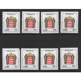 Monaco, timbres-poste de taxe Y & T n° 75 à 82 écusson stylisé, 1985
