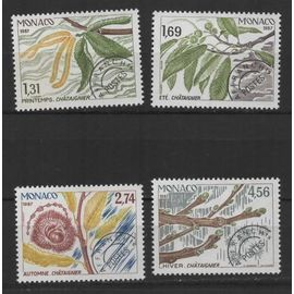 Monaco, timbres-poste préoblitérés Y & T n° 94 à 97 les quatre saisons du châtaignier, 1987