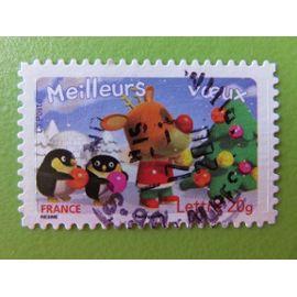 Timbre France YT 3988 - Meilleurs vœux - Renne et manchots décorant un sapin - 2006