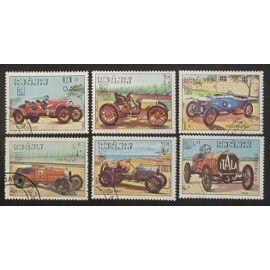 Laos oblitéré lot de 6 timbres de 1984 voitures anciennes