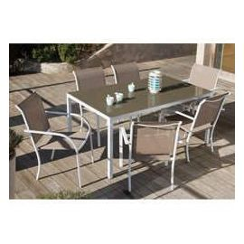 Salon de jardin LOZZI 160 CM Blanc Taupe Finition Mate - OOGARDEN
