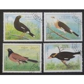 laos oblitéré lot de 4 timbres de 1995 oiseaux
