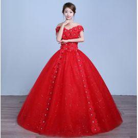 Rouge Robe De Mariee En Cristal Strass Fleur Princesse Robe De Bal Robes De Mariee
