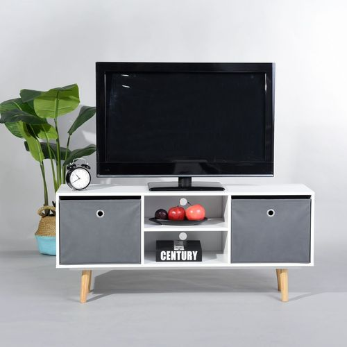 Urban Meuble Meuble Tv Scandinave 2 Tiroirs Bois Blanc Gris