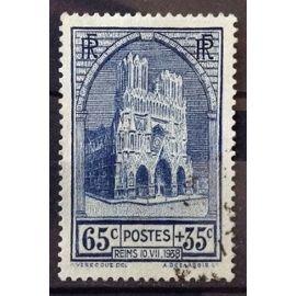 Cathédrale de Reims 65c+35c (Superbe n° 399) Obl - Cote 12,50€ - France Année 1938 - N23148