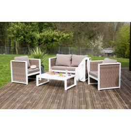 Salon de jardin bas 4 places en acacia blanc et résine ...