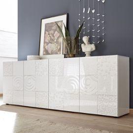 Buffet blanc laqué 240 cm design ELMA, 4 portes