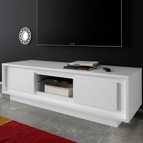 Meuble Tv Design Blanc Laque Mat Erine 5 Rakuten