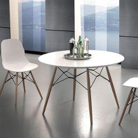 Table à manger ronde scandinave blanche et bois clair ULRIK