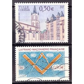 Tulle - Corrèze - Cathédrale 0,50€ (N° 3580) + Franc-Maçonnerie 0,50€ (N° 3581) Obl - France Année 2003 - N23328