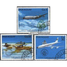 Paraguay 3786-3788 (complète.Edition.) oblitéré 1984 poste de vol le lufthansa Aviation