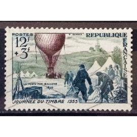 Journée Timbre 1955 - Ballon Poste 12f+3f (Superbe n° 1018) Oblitération Très Légère / Propre - Cote 5,50€ - France Année 1955 - N23168