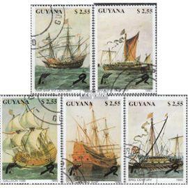 guyana 3292-3296 (complète.Edition.) oblitéré 1990 Navires vie de marin