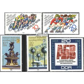DDR 2433-2434,2441-2442,2444 (complète.Edition.) neuf avec gomme originale 1979 spartakiade, Exposition, russe vélos