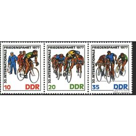 DDR wzd346 (complète.Edition.) (2216-2218 que bande de trois) oblitéré 1977 la paix en voiture vélos