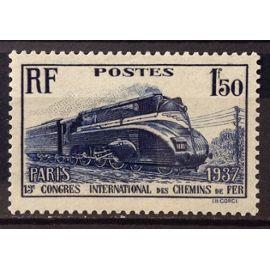Chemins de Fer Locomotive Pacific carénée 1f50 outremer (Superbe n° 340) Neuf* - Cote 8,50€ - France Année 1937 - N23465