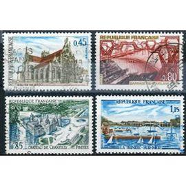 france 1969, série touristique complète, yvert 1582 église de brou - ain, 1583 barrage de vouglans - jura, 1584 chateau de chantilly - oise et 1585 port de la trinité sur mer - morbihan, obli, TBE