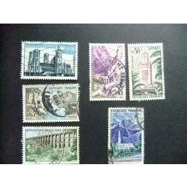 FRANCIA 1960 Série Touristique Yvert 1235+1237/41 FU incompleta