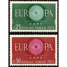 france 1960, très belle paire europa neuve** luxe yvert 1266 1267, dessinée par le finlandais Pentti Rahikainen.