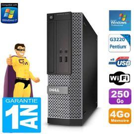 PC DELL 3020 SFF Intel G3220 Ram 4Go Disque 250 Go DVD Wifi Windows XP Pro