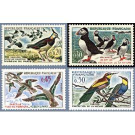 france 1960, très belle série neuve** luxe protection de la nature, yvert 1273 le vanneau, 1274 les macareux, 1275 le sarcelle et 1276 le guêpier de camargue.