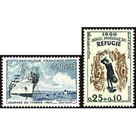 france 1960, joli lot neuf** luxe, yvert 1245 journée du timbre, poste d