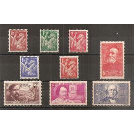 431 à 435 et 436 à 439 (1939) Séries Iris et Au Profit des Chômeurs Intellectuels N* (cote 28e) (6151)