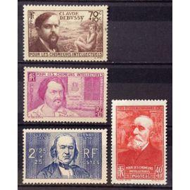 Série Chômeurs Intellectuels 1939 - N° 436 Puvis + 437 Debussy + 438 Balzac + 439 Claude Bernard Neufs* - Cote 26,50€ - France Année 1939 - N23556