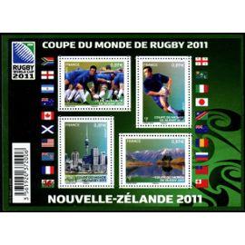 france 2011, très beau bloc feuillet neuf** luxe yvert 4576, coupe du monde de rugby en nouvelle zélande, timbres 4576, 4577, 4578, 4579.