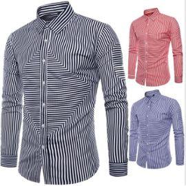 Style magnifique images détaillées Livraison gratuite dans le monde entier 2019 automne nouveaux hommes chemise rayée à manches longues de la mode  masculine tendance tendance