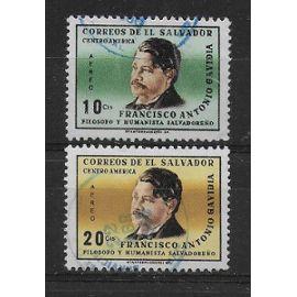 SALVADOR POSTE AERIENNE 1965 : Francisco Antonio Gavidia, philosophe et humaniste - Série de 2 timbres oblitérés