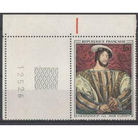Timbre France 1967 Yvert et Tellier n°1518 François 1er Coin de Feuille Numéroté 12526 Neuf** Gomme intacte