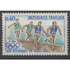 Timbre France 1968 Yvert et Tellier n°1573 Jeux Olympiques de Mexico 1968 Neuf** Gomme intacte