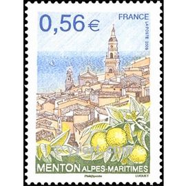 menton (alpes maritimes) vue de la vieille ville citrons année 2009 n° 4337 yvert et tellier luxe