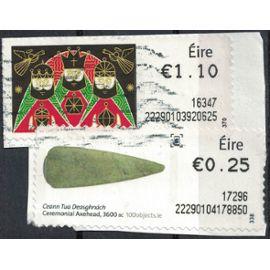 Irlande lot 2 vignettes Oblitérées Scène religieuse et objet préhistorique SU