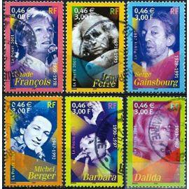 France 2001, Belle Série Complète Artistes De La Chanson : 3391 C. François, 3392 Ferré, 3393 Gainsbourg, 3394 Dalida, 3395 Berger, 3396 Barbara, oblitérés, TBE