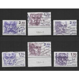 France, timbres-poste oblitérés Y & T n° 2355 à 2360 personnages célèbres, écrivains, 1985